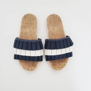 Jack Rogers Navy and White Ruffled slip on sandals